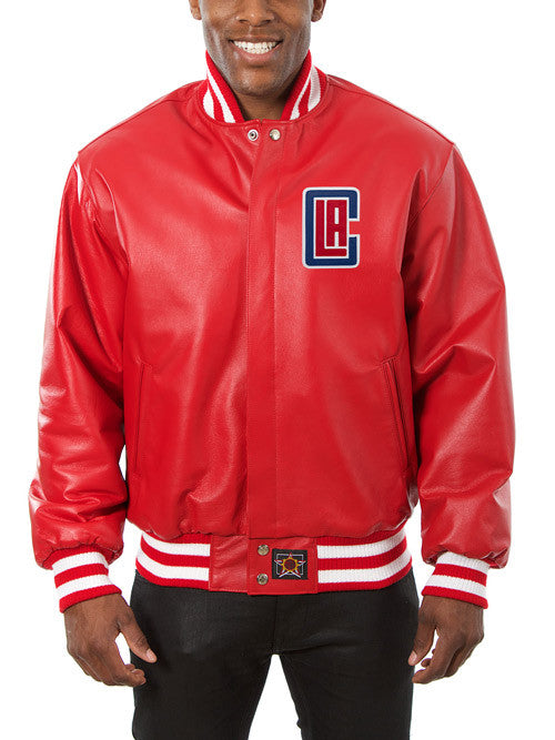 LA Clippers All Leather Jacket - Red
