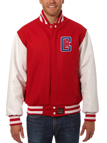 LA Clippers Leather Sleeve Jacket - Red/White