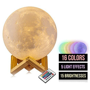 Moon Light Moon Lamps 16 Color Change Touch and Remote Control for Kids Gift Girl 3D Printed Night Light White Lunar Lamp Christmas Gift 5.9 Inch Moon Light with Wood Base + Rope Hanger