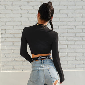 X-Strap Long Sleeve Crop Top - 82 Ave