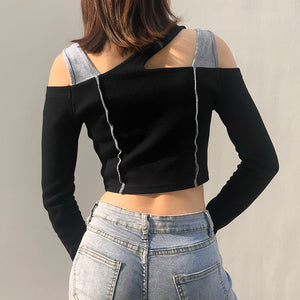 Spliced Cold Shoulder Top - 82 Ave