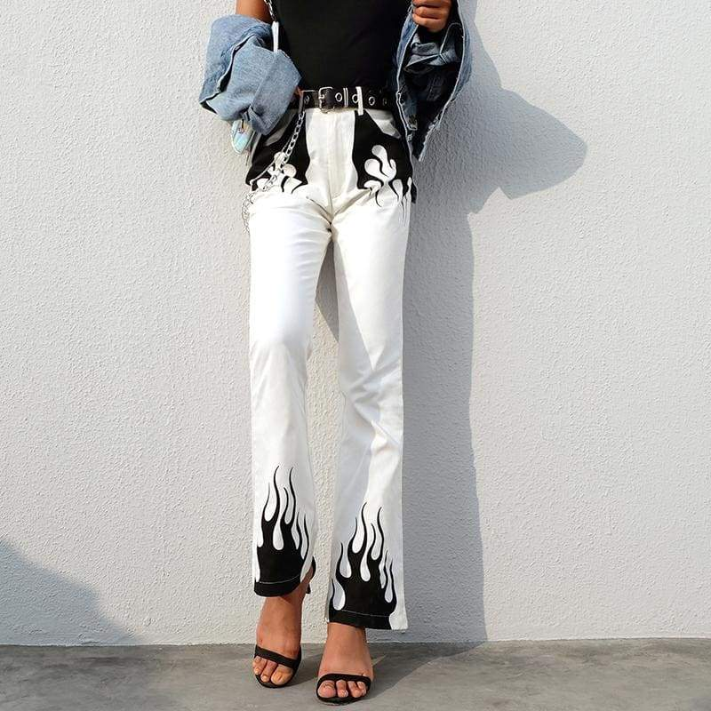 Flame High Waist Flare Pants - 82 Ave