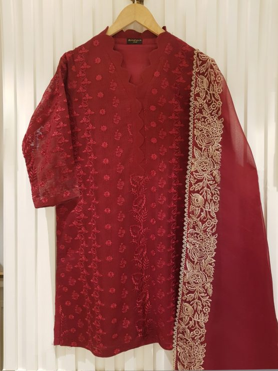 TWO PIECE COTTON NET (SHIRT ALONG WITH DUPATTA) S100058