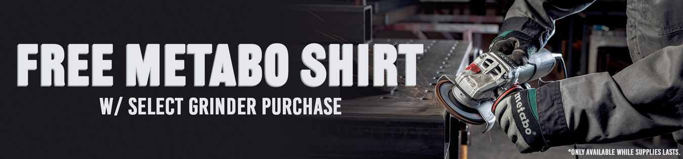 Metabo Grinder Promotion with Free Shirt included in grinder purchase