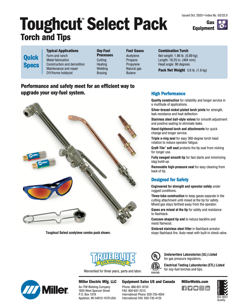 Toughcut Select Pack Specifications and Data Sheet