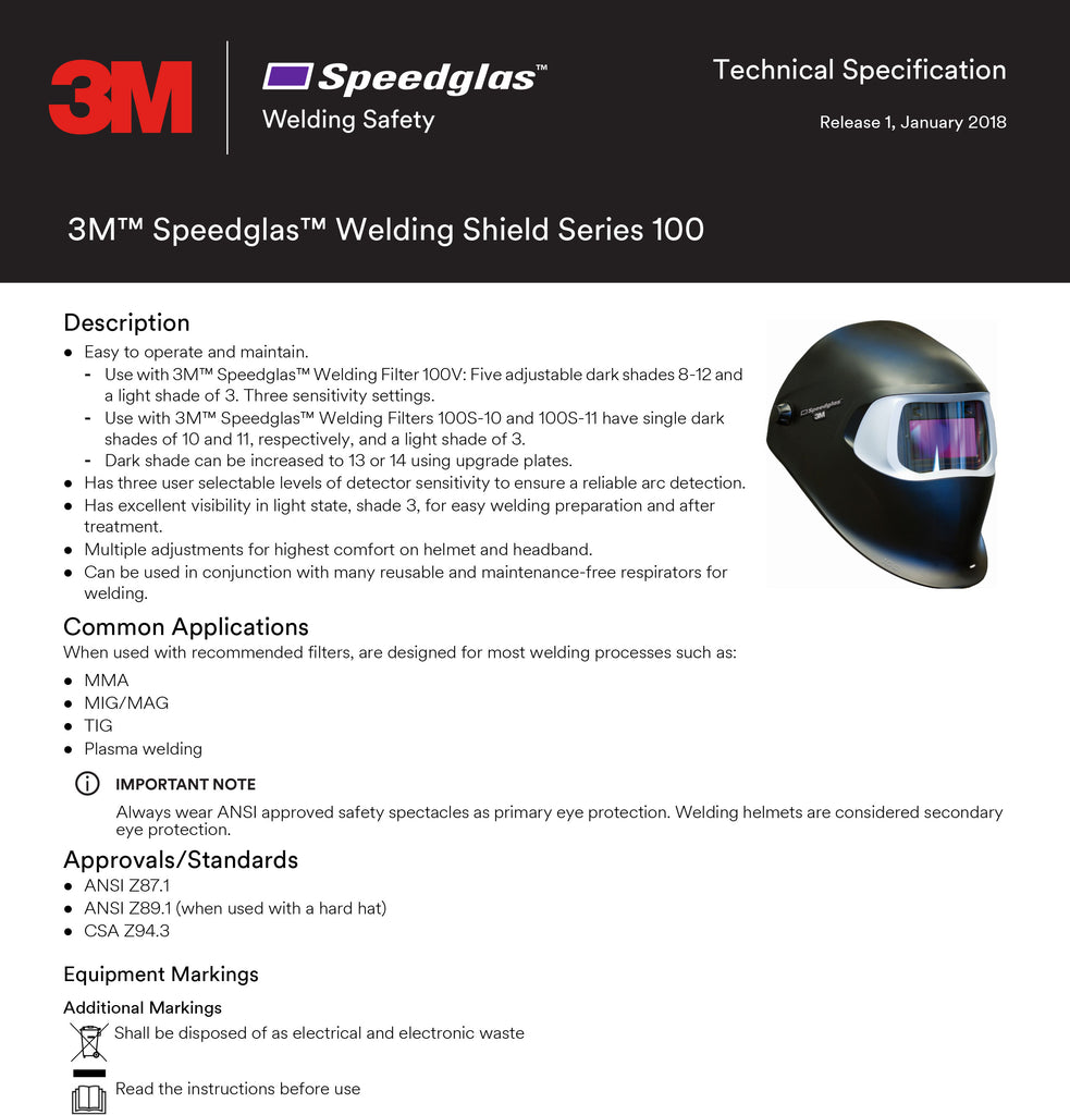 Speedglass Spec Sheet
