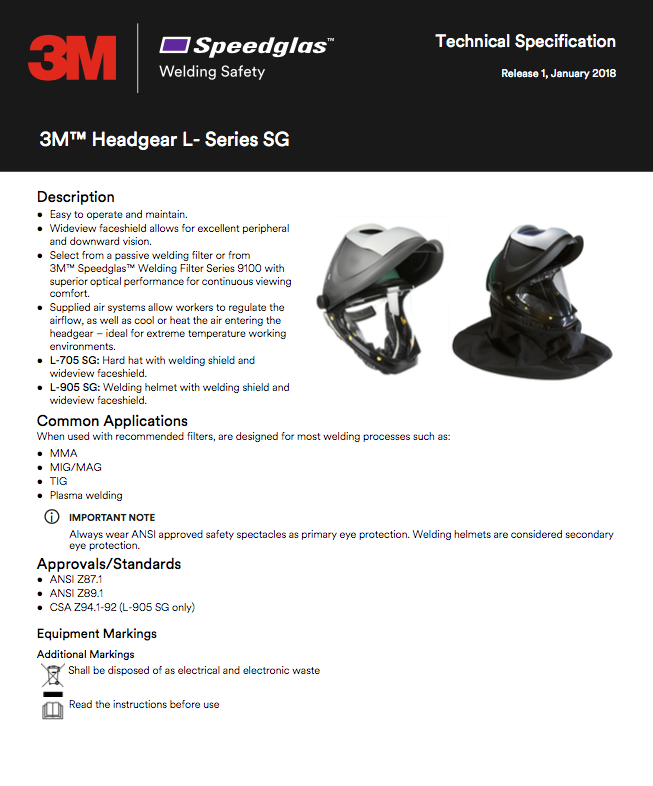 3M34-0905-SGX Specification Sheet