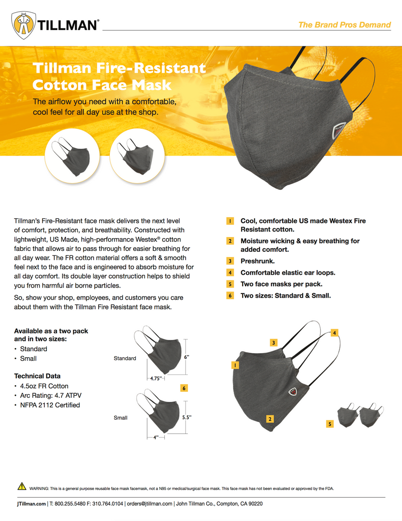 John Tillman 568 Fire Resistant Face Mask Specifications and Sell Sheet