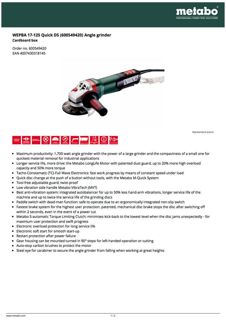 Metabo 600549420 Spec Sheet with Data