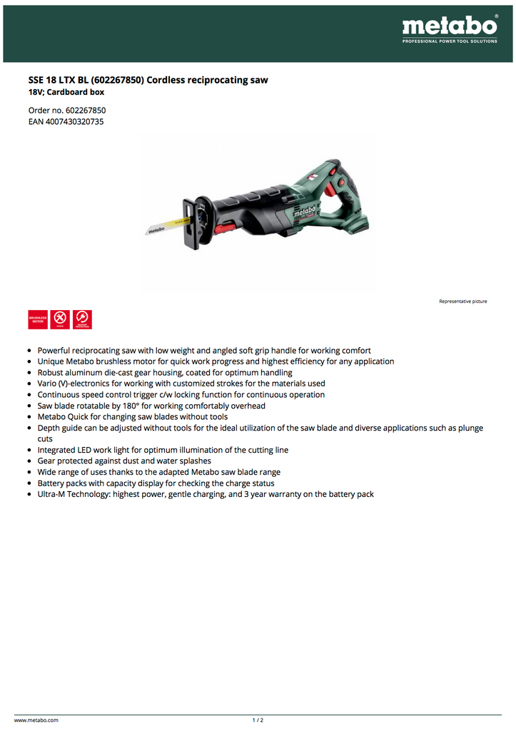 Metabo 602267850 Reciprocating Saw Spec Sheet and Facts