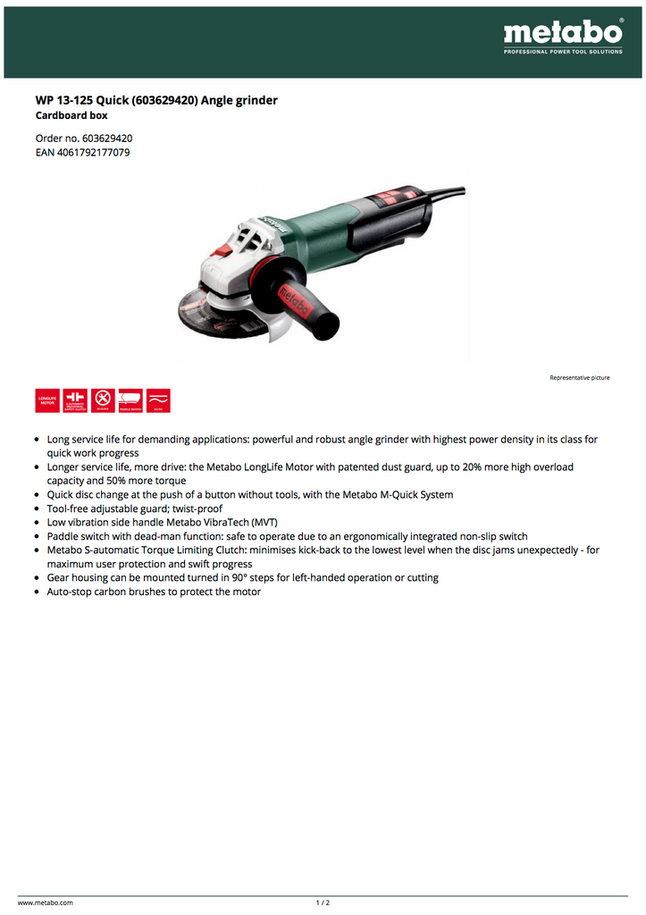 WP 13-125 QUICK (603629420) ANGLE GRINDER