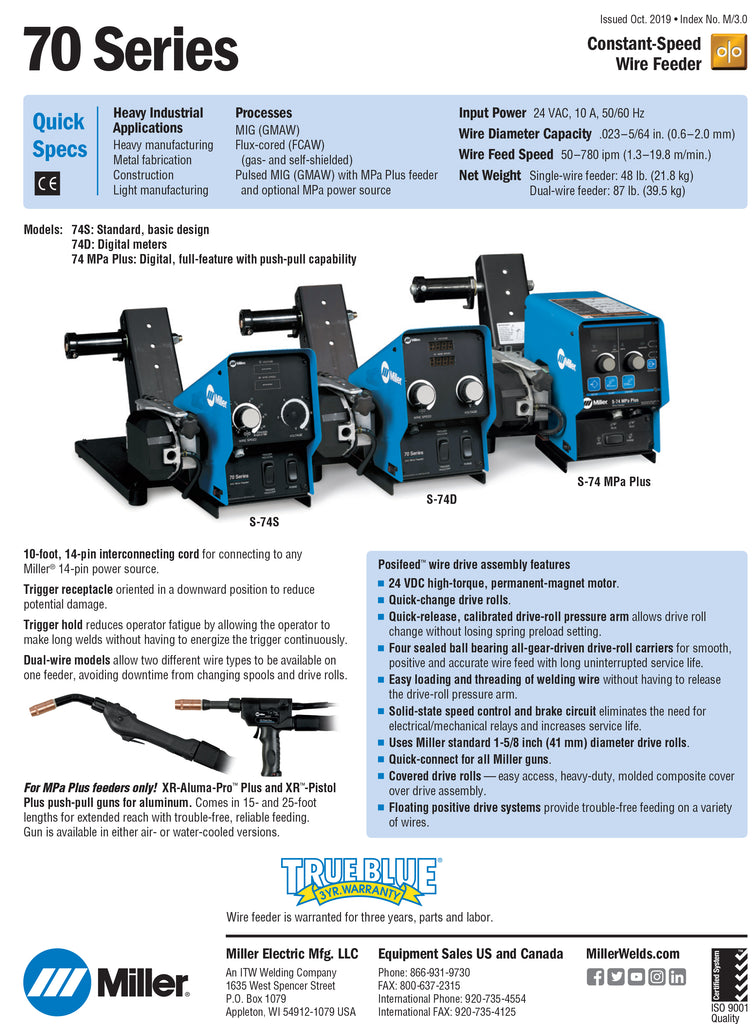 70 Series dual feeder spec sheet