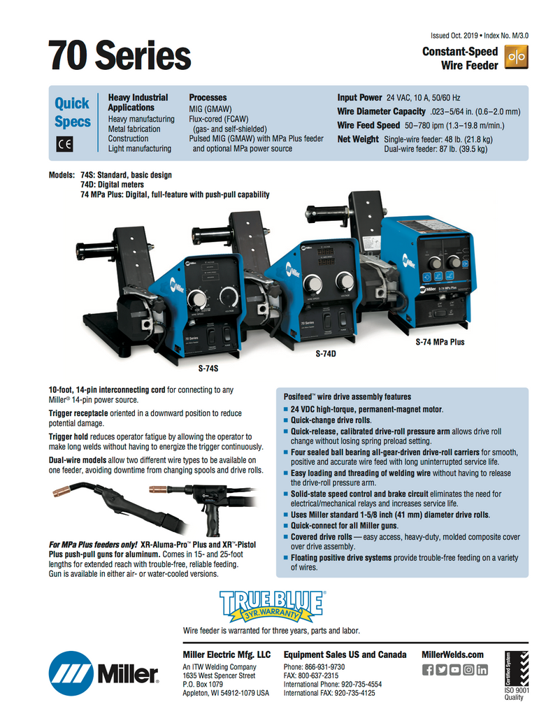Miller Electric 70 Series Wire Feeder Spec Sheet