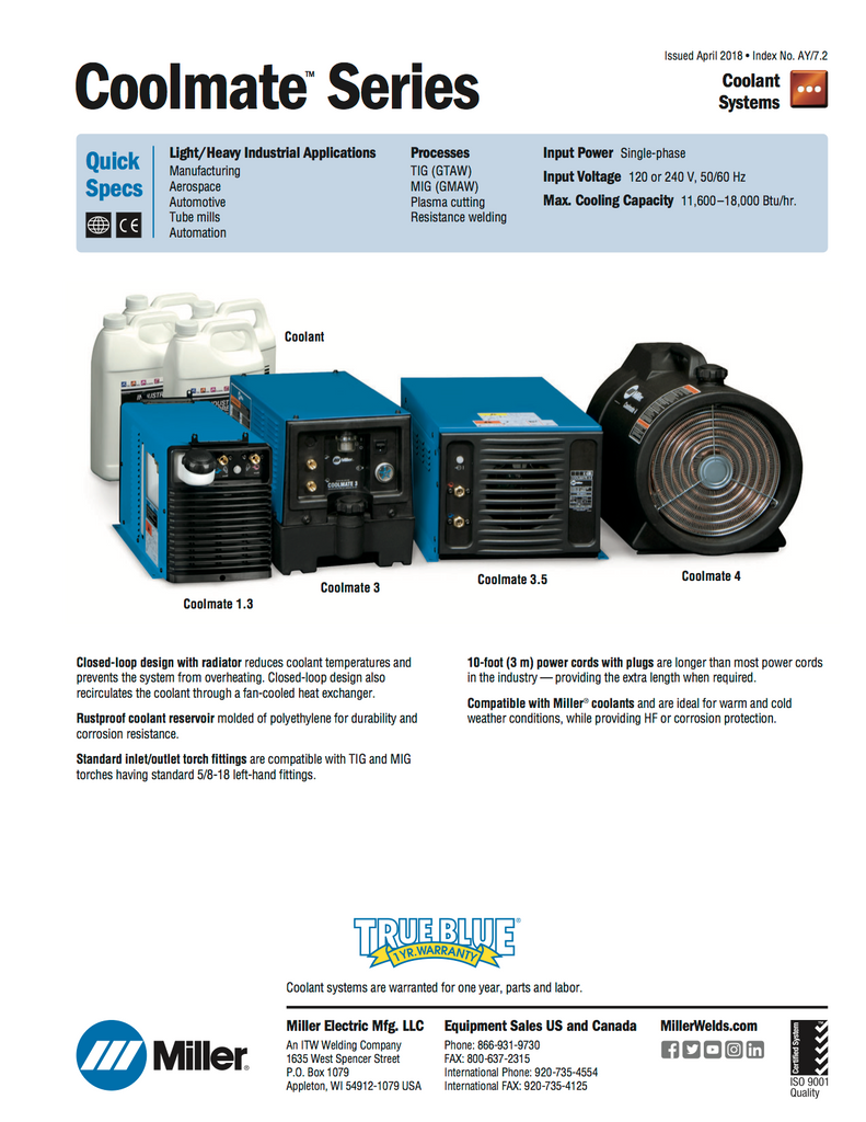 Miller Coolmate 1.3 Coolant System 300972 Specs and Data Sheet