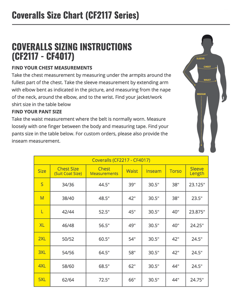 Coverall Size Chart