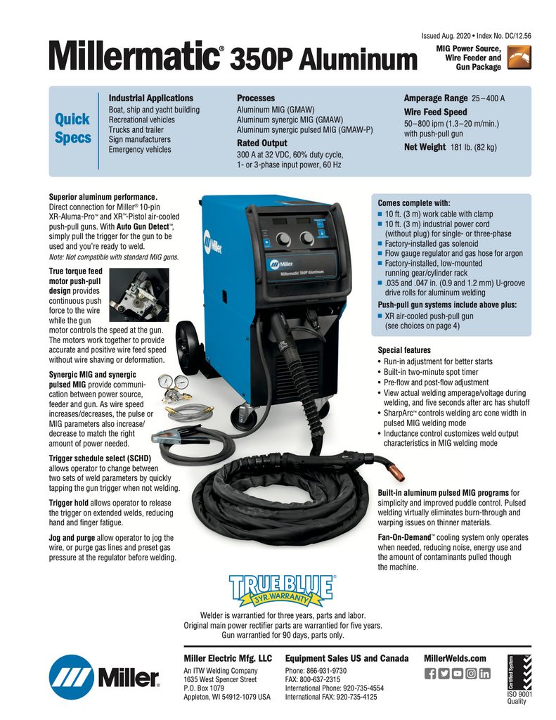 Millermatic 350P 951868 Specifications Sheet