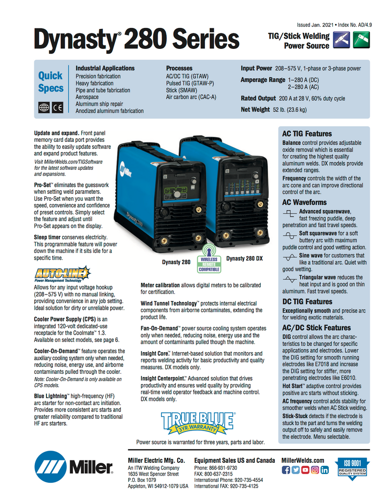 Miller Dynasty 280 DX with CPS Spec Sheet and Data