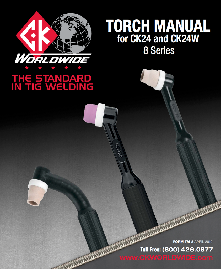 CK Worldwide CK24 Low Profile flexible TIG Torch w/ SuperFlex Cable Specs and Data Sheet