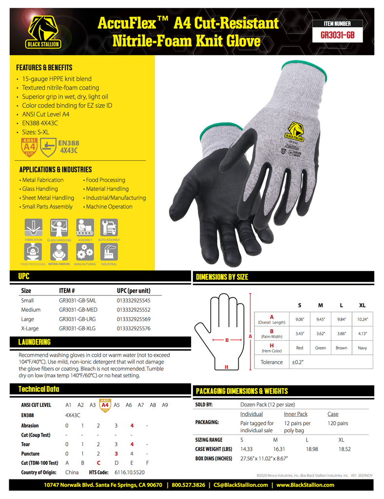 AccuFlex A4 Cut-Resistant Nitrile-Foam Knit Glove - GR3031-GB Specifications and Data Sheet
