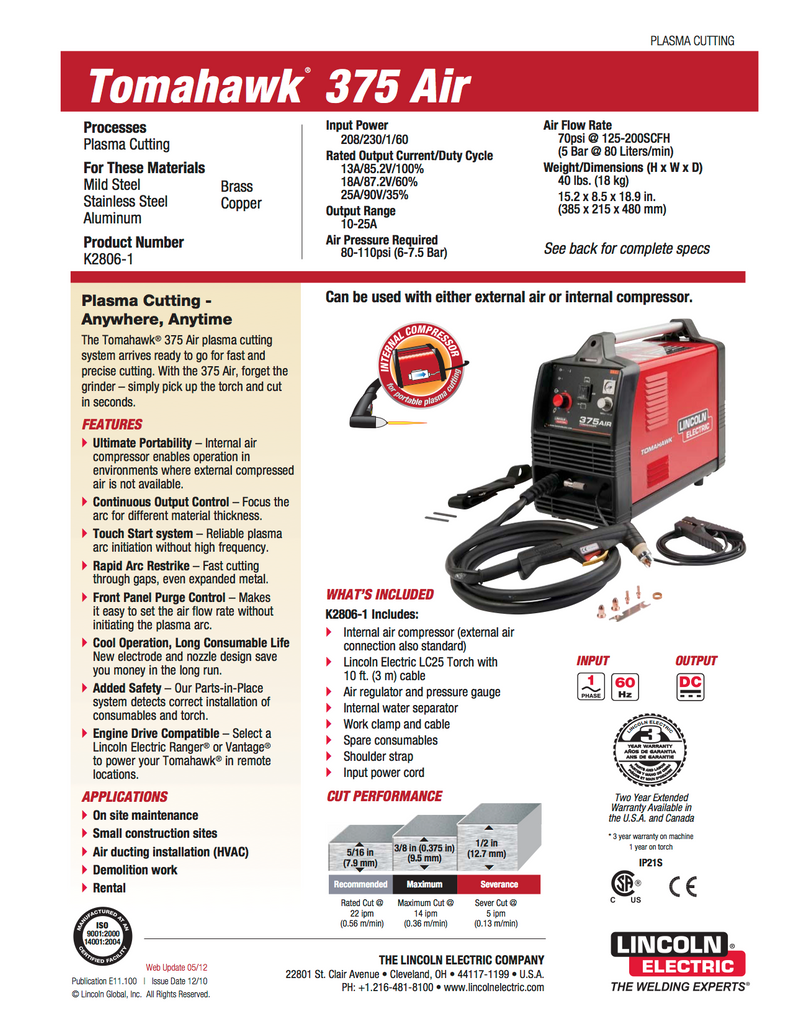 Lincoln Tomahawk 375 Air Plasma Cutting System - K2806-1
