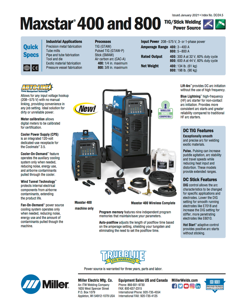 Miller Maxstar 400 TIG Welder Complete Package Spec Sheet and Data