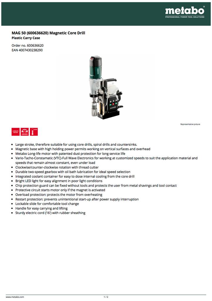 Metabo MAG 50 Magnetic Core Drill - 600636620