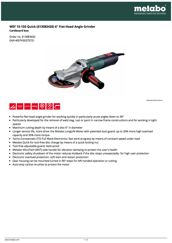 """Metabo WEF 15-150 Quick 6"""" Flat-Head Angle Grinder - 600636620"""