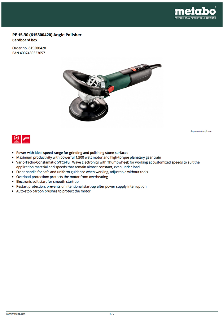Metabo PE 15-30 Angle Polisher - 615300420