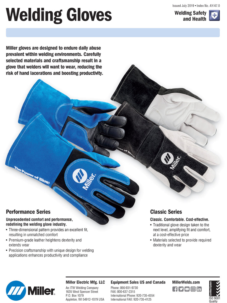 Miller Glove Spec Sheet