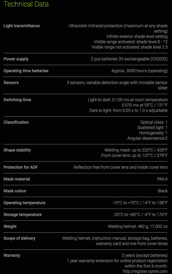 OPT4550104 specifications