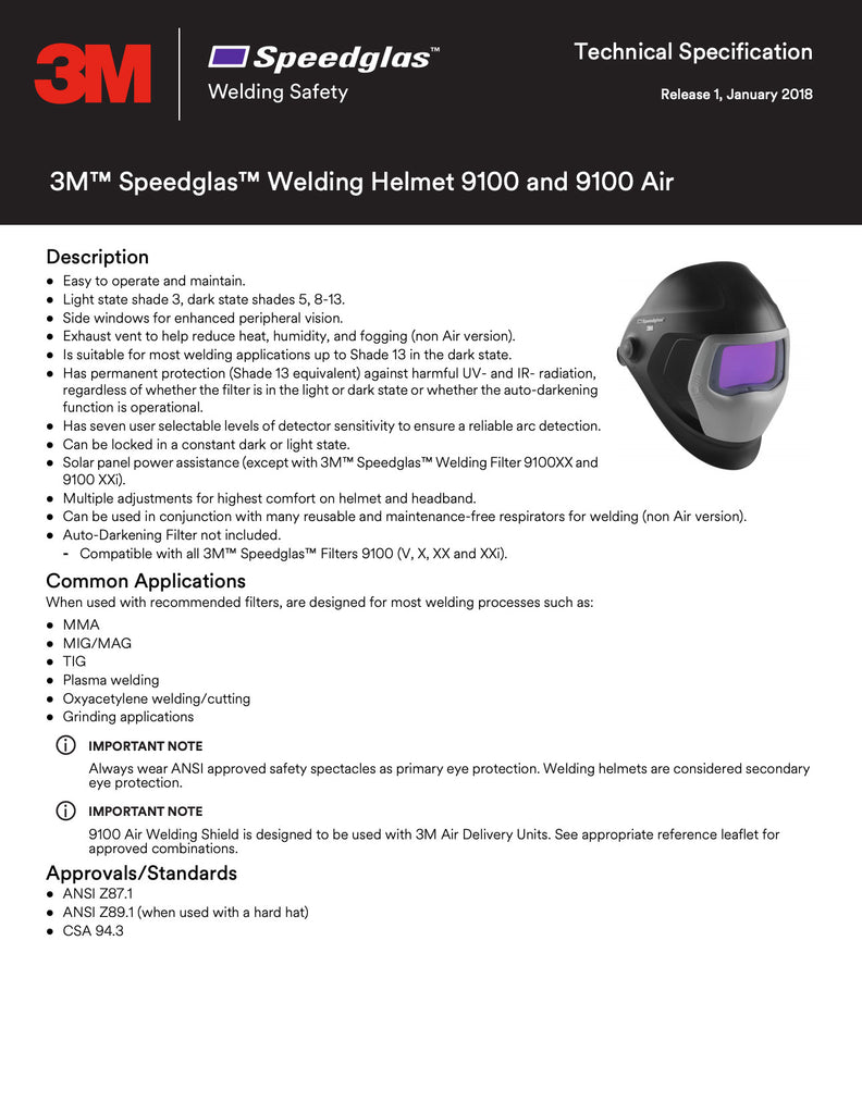 Speedglas 9100 Spec Sheet