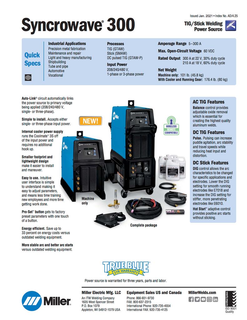 Miller Syncrowave 300 Spec Sheet and Data