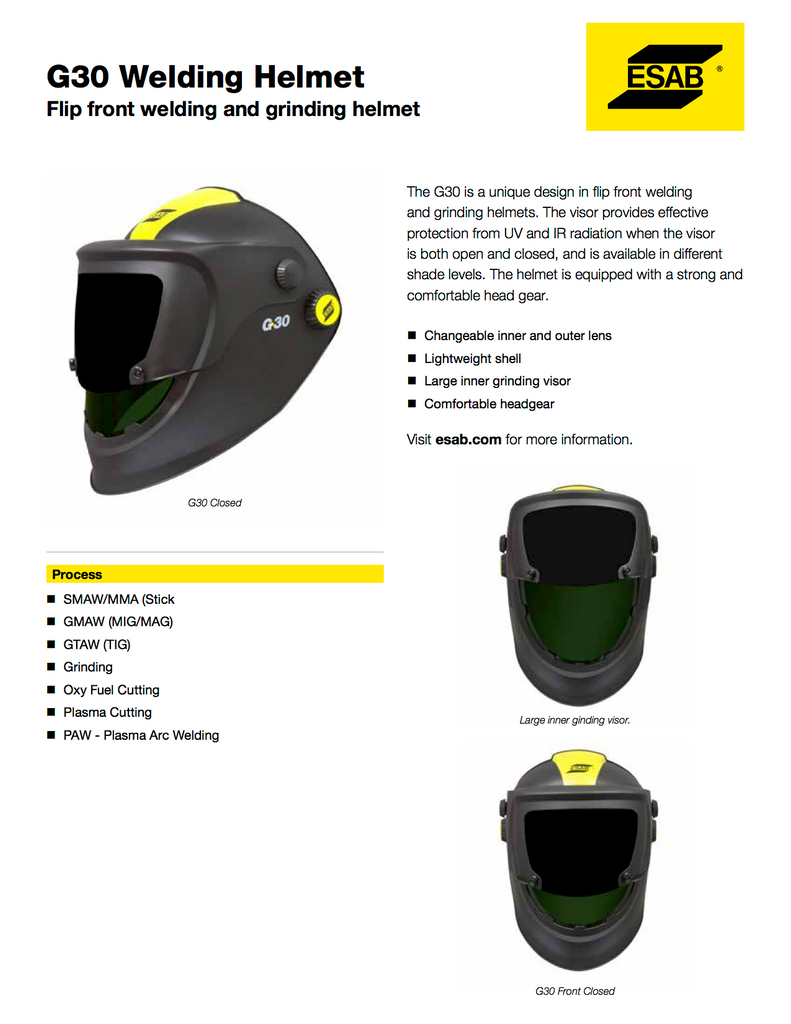 ESAB G30 Spec Sheet and Facts