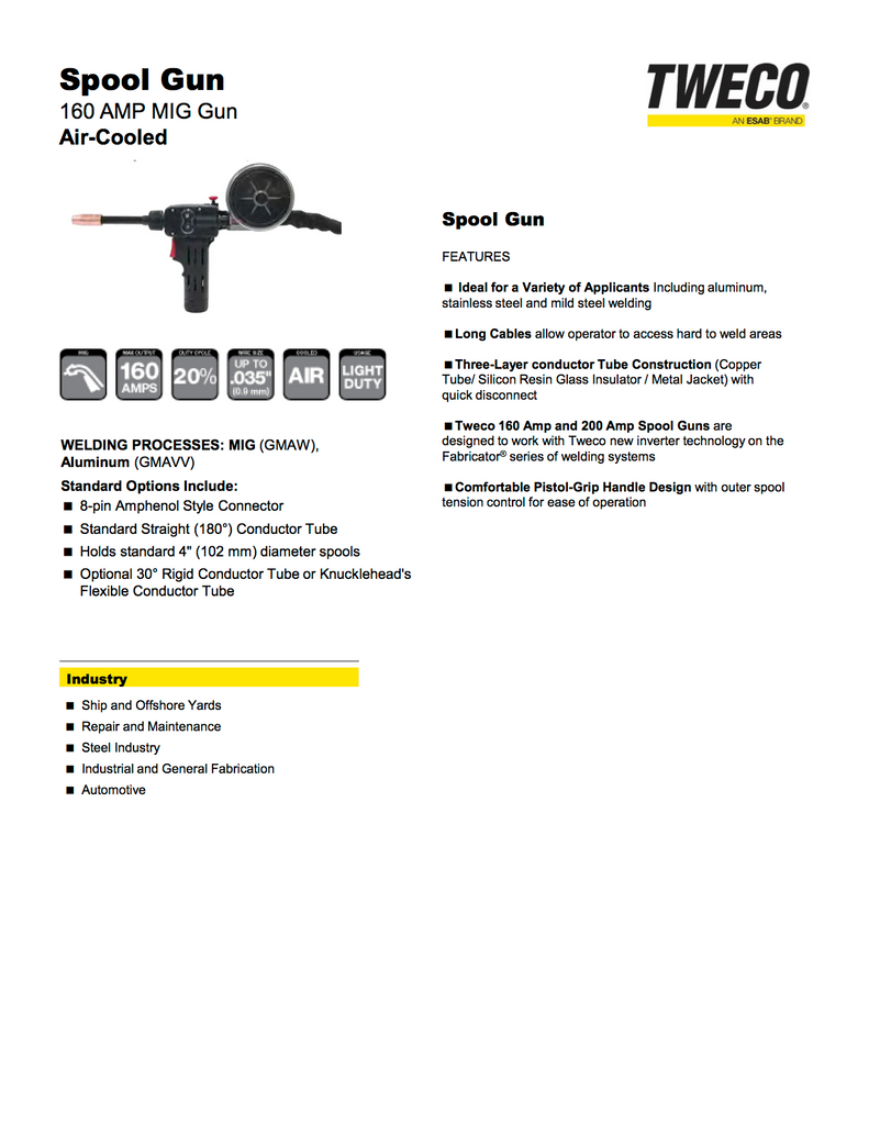 Tweco 1027-1397 Spool Gun Spec Sheet