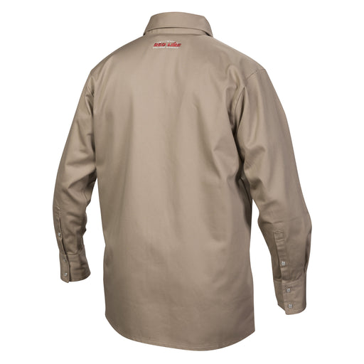 the back of the Lincoln Khaki FR welding shirt