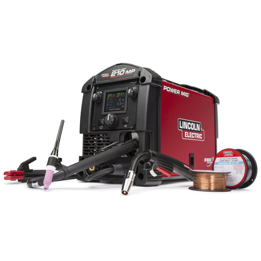 Power MIG 210MP is a multi-process, wire feeding welder. Flux Cored, MIG, TIG, Stick processes.