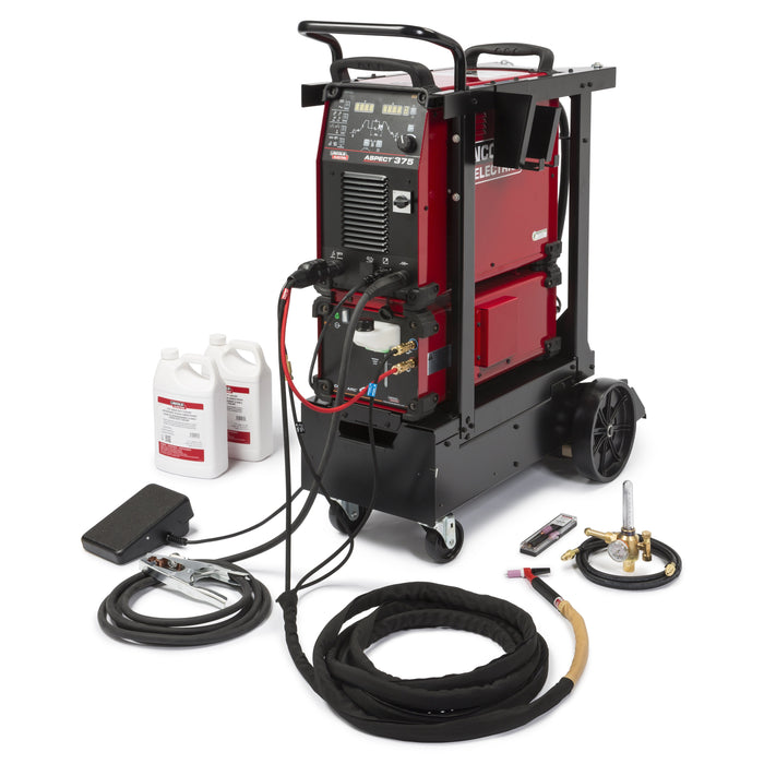 Aspect 375 Ready-Pak includes a Cool Arc 47, Low Conductivity Coolant, regulator, wired foot amptrol, cart and TIG Torch Parts Kit.