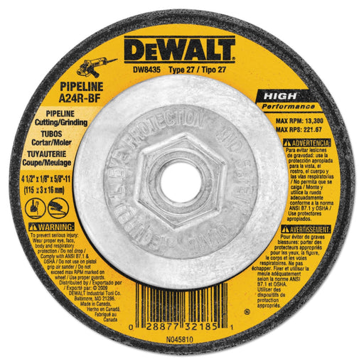 "Dewalt Type 27 HP Metal Grinding Wheels, 4.5"" x 5/8-11"" - DW4523"
