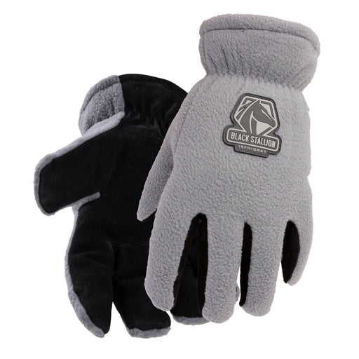 Black Stallion FuzzyHand Split Cowhide & Polar Fleece Winter Glove - 15FH-GRAY