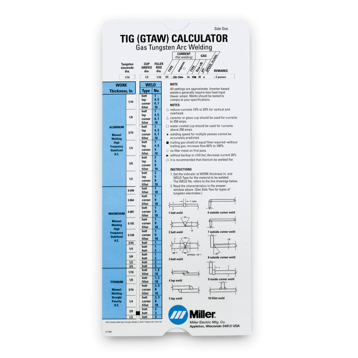Miller TIG Calculator - 171086