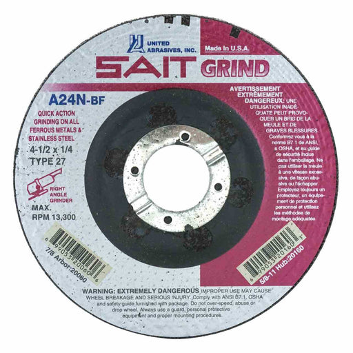 Sait Grinding Wheel - Type 27 - 4-1/2x1/4x5/8-11 A24N - 10/box - 20160