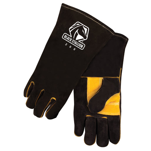 Black Stallion Side Split Cowhide Stick Glove with CushionCore Liner - 200