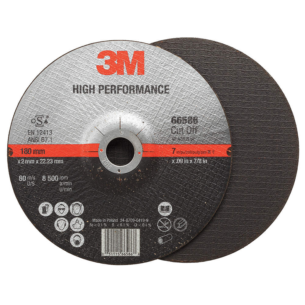 3M High Performance Cut-Off Wheel T27 5 x .09 x 7/8 50/case - 66582
