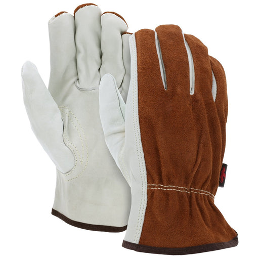 MCR Safety Leather Driver Work Gloves w/ Cow Grain Palm and Split Back, 12/pk - 3205