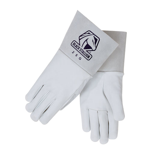 Black Stallion Pearl White Grain Goatskin TIG Glove - 25G