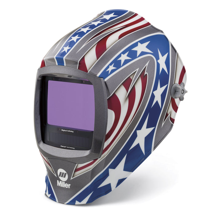 Miller Digital Infinity Stars & Stripes w Clear Light Lens Helmet from the left - 280049