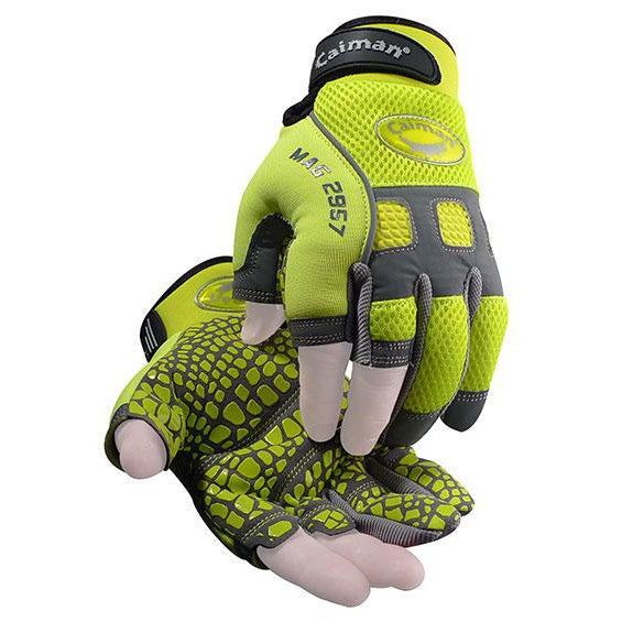 Caiman 2957 Hi-Vis, Silicone Grip, Fingerless Gloves-12/PK - 2957