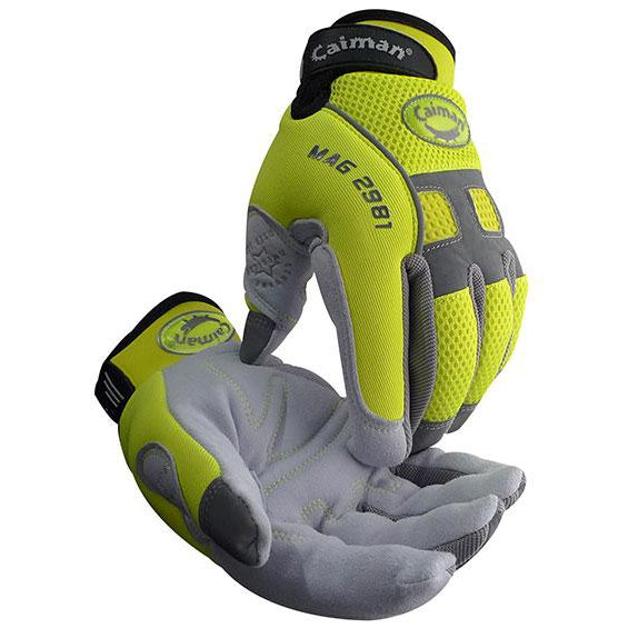 Caiman Hi-Vis Deer Split Leather Gloves, 12/pk - 2981