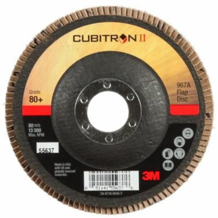 3M Cubitron II Flap Disc 967A, T29 4 1/2 in Grade 40+ with Hub - 55602