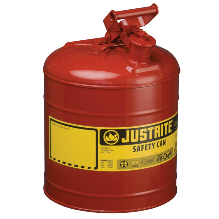 Justrite Steel Safety Can - 5 Gallon Capacity